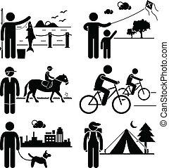 Gente recreativa al aire libre