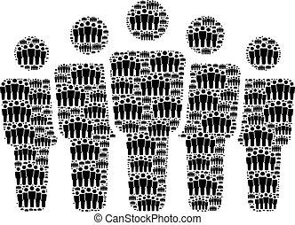 gente, recursion, itself, multitud, artículos, collage