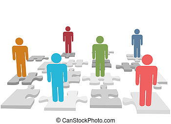 gente, rompecabezas, pedazos jigsaw, estante, recursos humanos