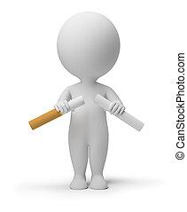 gente, rotura, -, cigarrillo, pequeño, 3d