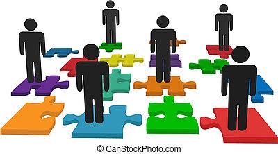 gente, símbolo, pedazos jigsaw, estante, equipo, rompecabezas