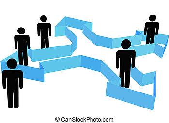 gente, símbolo, punto, flechas, organización, direcciones, nuevo