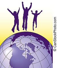 Gente saltando de alegría