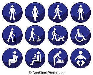 gente, signage, conjunto, icono, tipo