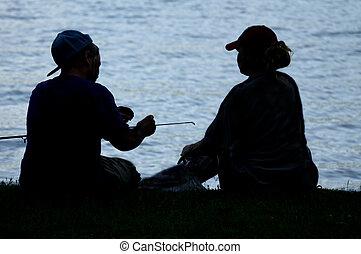gente, silueta, dos, pesca