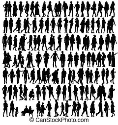Gente silueta vector negro