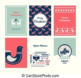 gente, style., escandinavo, tarjeta, invierno, arte, nórdico, conjunto, saludo