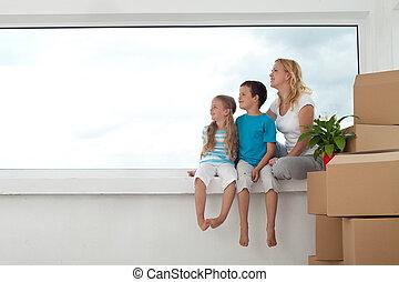 gente, -, su, negocio a término brillante, hogar, nuevo, feliz