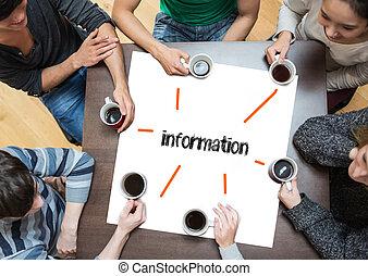gente, tabla, alrededor, palabra, página, sentado, información, café de bebida