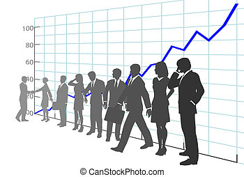 gente, tabla de crecimiento, empresa / negocio, ganancia, equipo
