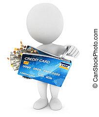 gente, tarjeta de crédito, blanco, abre, 3d