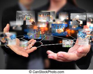 gente, tenencia, medios, social, empresa / negocio