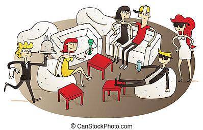 gente, teniendo, salón, joven, diversión, v.i.p.