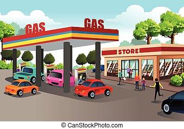 gente, tienda, estación, conveniencia, gas