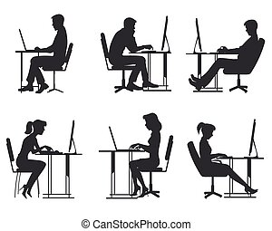 Gente trabajando en la computadora