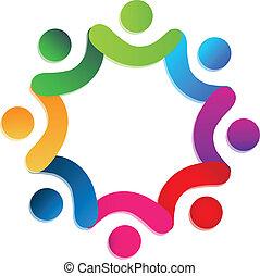 gente, trabajo en equipo, caridad, logotipo, vector