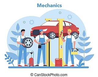gente, utilizar, tool., reparación coche, profesional, servicio, concept.