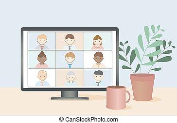 gente, vector., empresa / negocio, en línea, vídeo, trabajo, concept., remoto, conferencia