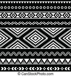 gente, vector, ornamento, seamless, azteca