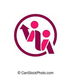 gente, vector, resumen, logotipo, plantilla, 2, design., dos