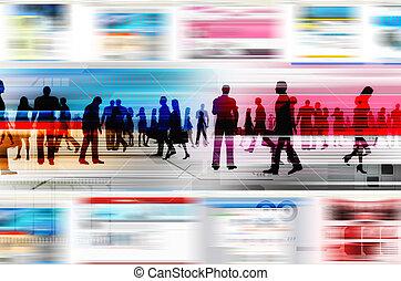 Gente virtual haciendo negocios dentro del mundo virtual de Internet. Ilustrado con la página web, y elementos de diseño.
