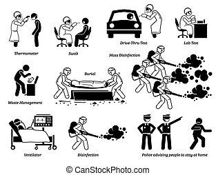 gente, virus, prueba, cliparts., trabajadores, verificar, médico, infección