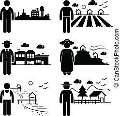 Gente viviendo en lugares diferentes