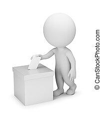 gente, votación, -, 3d, pequeño