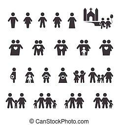 Gente y ícono familiar