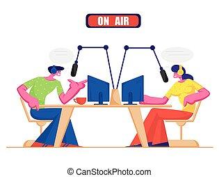 Gente y concepto de radio. Los personajes de radio masculinos y femeninos en auriculares hablan con micrófonos, transmiten programas en el aire y se comunican con los oyentes. Ilustración de vectores planos de los medios sociales
