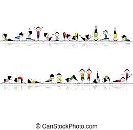 gente, yoga, su, plano de fondo, seamless, practicar, diseño