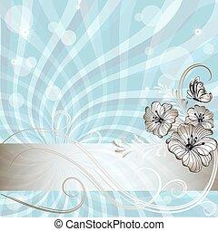 Gentil marco floral azul