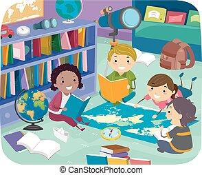 geografía, stickman, habitación, niños, ilustración, lectura