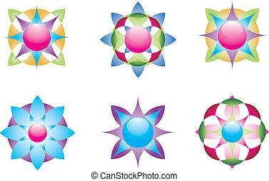 geométrico, 3, iconos