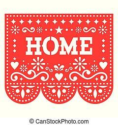 geométrico, afuera, picado, rojo, decoración, corte, decoración, diseño, formas, flores, fiesta de inauguración de una casa, hogar, mexicano, papel, vector, papel, fiesta