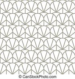 geométrico, arco, vector, seamless, patrón, vendimia, scallops.