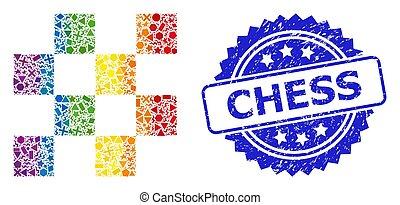geométrico, caucho, espectro, ajedrez, células, estampilla, mosaico
