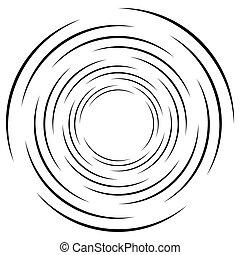 geométrico, elemento, lines., monocromo, espiral, circular, onda, resumen, concéntrico