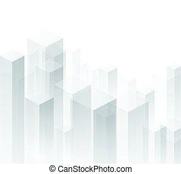 geométrico, fondo., perspectiva, blanco, 3d