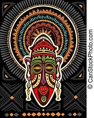 geométrico, ornamento, máscara, africano, plano de fondo