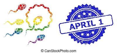 geométrico, precinto de goma, 1, espectro, esperma, inseminación, abril, mosaico