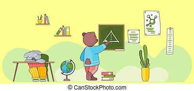 geometría, lesson., animals., espalda, board., oso, salvaje, lección de la escuela, tiza, escritura