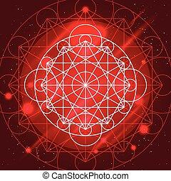 geometría, vector, señal, magia