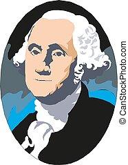 George Washington, el primer presidente de los Estados Unidos. Retrato de vector.