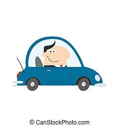 Gerente sonriente conduciendo un coche al trabajo