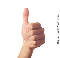 Gestando una mano humana con el pulgar arriba