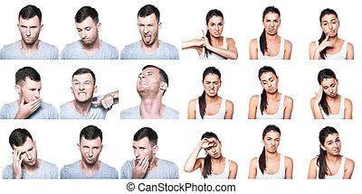 gestos, emociones, negativo, niña, compuesto, niño