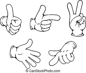 gestos, positivo, conjunto, manos