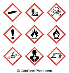 GHS 9 nuevo pictograma de riesgo. Señal de aviso peligroso (WHMIS), ilustración aislada vectorial