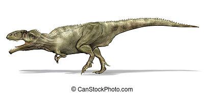 giganotosaurus, vista, dinosaur., lado, 3d, illustration.